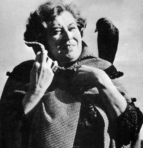Sybil Leek with her constant crow companion