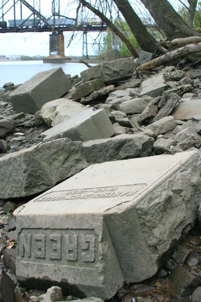 Tombstones along the Delaware River shoreline